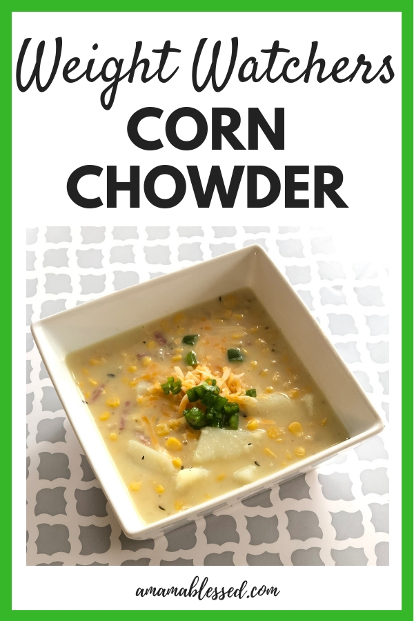 Weight Watchers Corn Chowder in a White Bowl